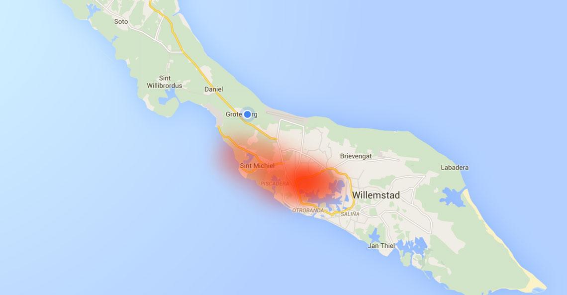 In welke wijken heb je last van de Isla op Curacao | kaart van de verspreiding van de stank van de Isla